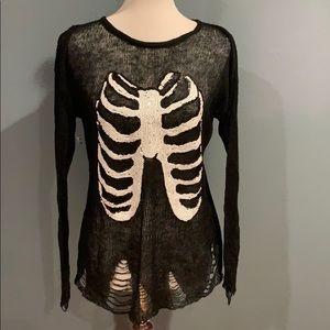 Wildfox Black Distressed Sweater Rib Cage